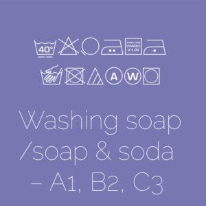 Washing soap/soap & soda – A1, B2, C3